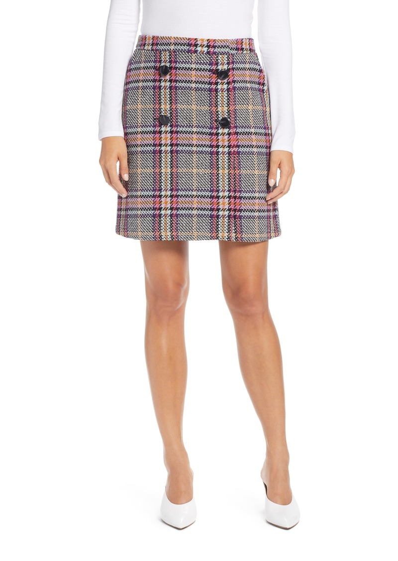 Halogen® Button Detail Plaid Skirt (Regular & Petite)