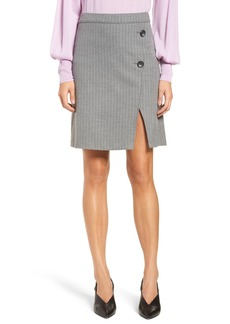 Halogen® Button Detail Stripe Miniskirt (Regular & Petite)