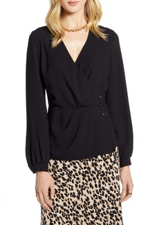 Halogen® Button Detail Wrap Blouse
