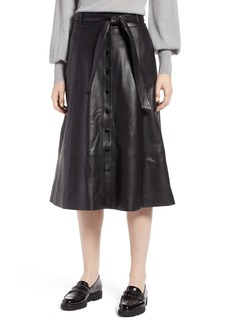 Halogen® Button Front Leather Midi Skirt (Regular & Petite)