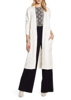 Halogen® Cable Knit Long Cardigan (Regular & Petite)