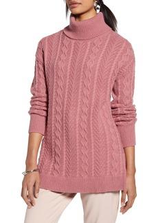 Halogen® Cable Turtleneck Tunic Sweater (Regular & Petite)