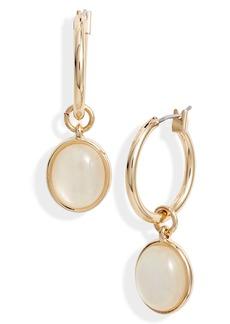 Halogen® Cabochon Drop Hoop Earrings