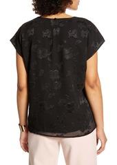 Halogen® Cap Sleeve Floral Top (Regular & Petite)