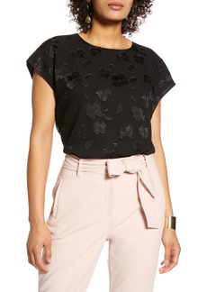 Halogen® Cap Sleeve Floral Top (Regular & Petite)