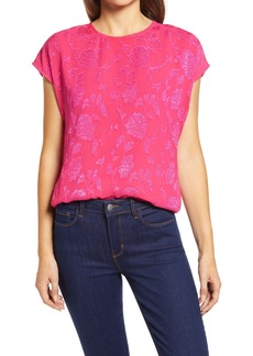 Halogen® Cap Sleeve Metallic Floral Blouse