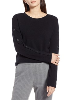 Halogen® Cashmere Button Sleeve Sweater (Regular & Petite)