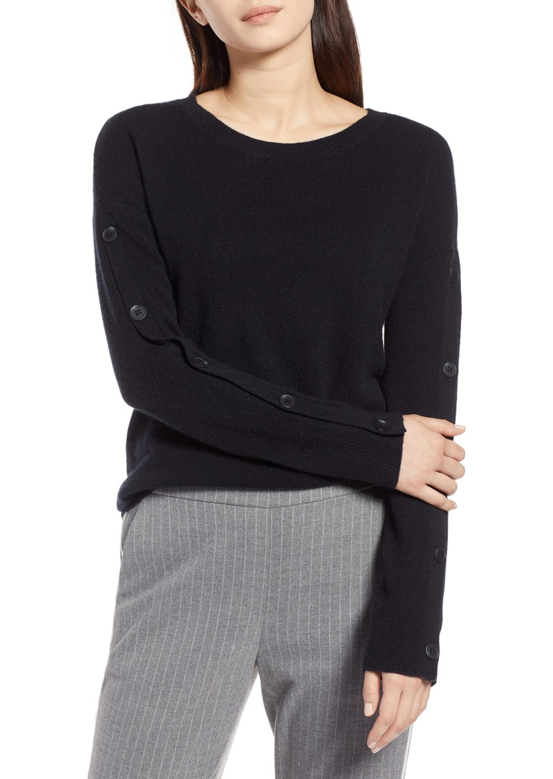 a77c0750a8 Halogen Halogen® Cashmere Button Sleeve Sweater (Regular   Petite ...
