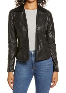 Halogen® Center Zip Faux Leather Jacket