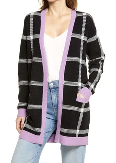 Halogen® Check Open Front Long Cardigan