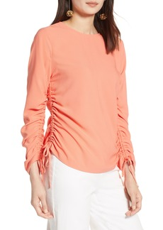Halogen® Cinched Sleeve Blouse (Regular & Petite)