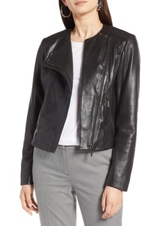 Halogen® Collarless Leather Jacket (Regular & Petite)