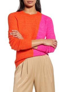 Halogen® Colorblock Crewneck Sweater (Regular & Petite)