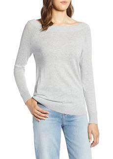 Halogen® Convertible Bateau Neck Sweater (Regular & Petite)