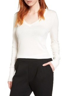 Halogen® Cotton Blend V-Neck Sweater (Regular & Petite)