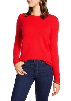 Halogen® Crewneck Wool Blend Sweater (Regular & Petite)