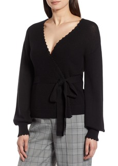 Halogen® Crochet Edge Wrap Style Sweater (Regular & Petite)