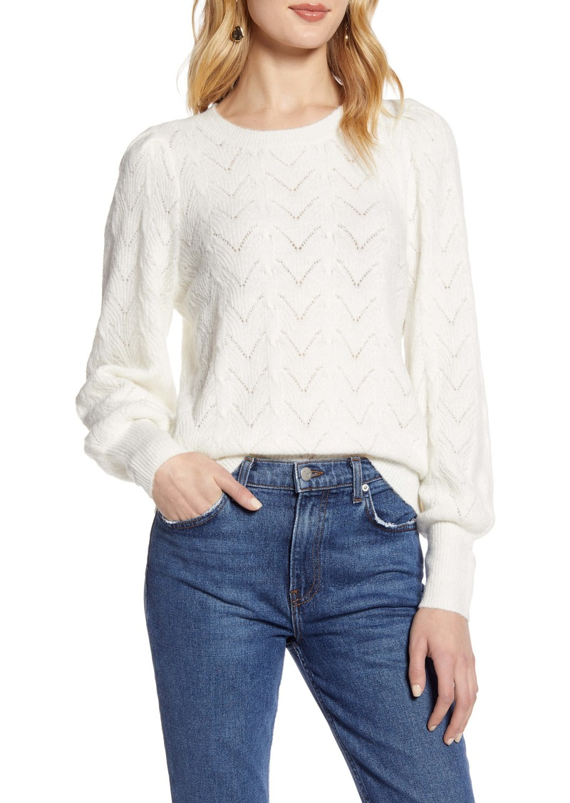 Halogen® Curved Chevron Pointelle Sweater