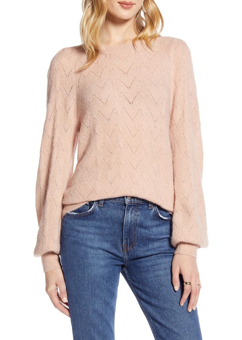 Halogen® Curved Chevron Pointelle Sweater