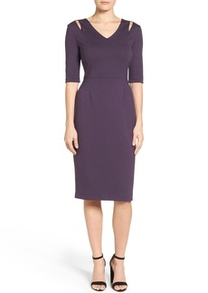 Halogen® Cutout Shoulder Sheath Dress (Regular & Petite)