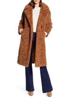 Halogen® Double Breasted Faux Fur Teddy Coat