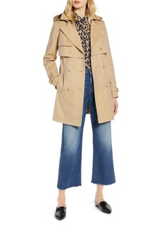 Halogen® Double Breasted Trench Coat with Removable Hood