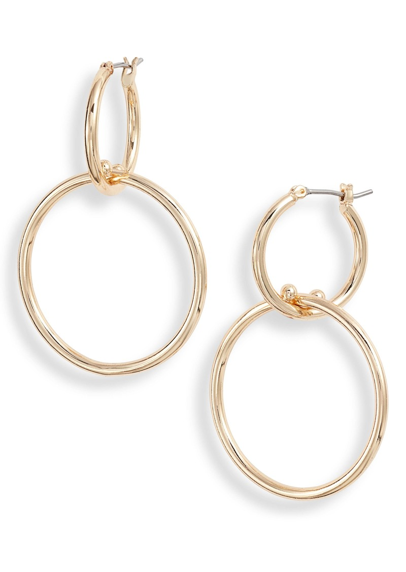 Halogen® Double Hoop Drop Earrings