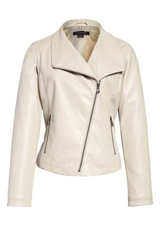 Halogen® Drape Collar Faux Leather Jacket