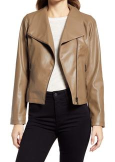 Halogen® Drape Collar Faux Leather Jacket