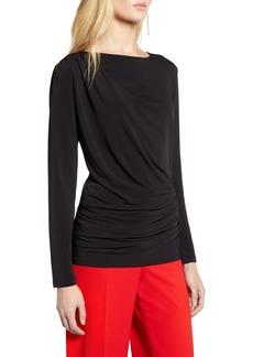 Halogen® Drape Front Jersey Top (Regular & Petite)