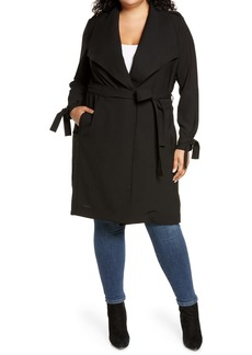 Halogen® Drape Tie Waist Coat (Plus Size)