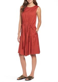 Halogen® Drawcord Stretch Cotton Blend Dress (Regular & Petite)
