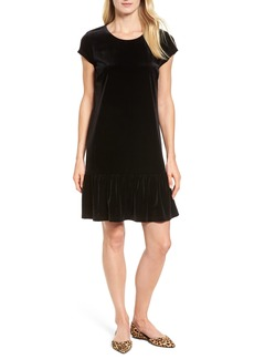Halogen® Drop Ruffle Velvet Dress