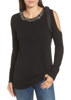 Halogen® Embellished Cold Shoulder Sweater