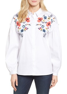 Halogen® Embroidered Button Down Shirt (Regular & Petite)