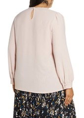 Halogen® Embroidered Lace Yoke Blouse