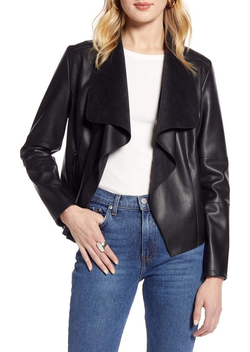 Halogen® Faux Leather Drape Front Jacket