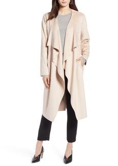 Halogen® Faux Suede Front Drape Trench Coat