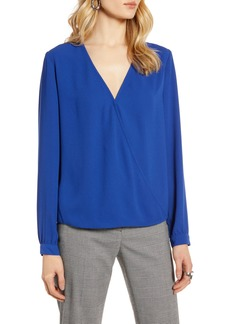 Halogen® Faux Wrap Blouse