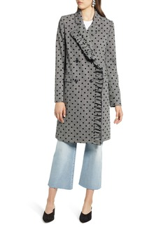 Halogen® Flocked Dot Coat (Regular & Petite)