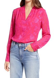 Halogen® Floral Jacquard Long Sleeve Blouse