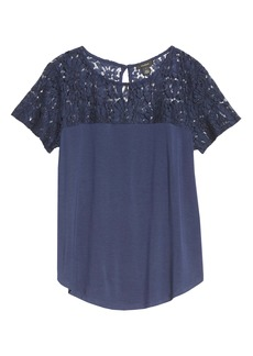 Halogen® Floral Lace Yoke Top