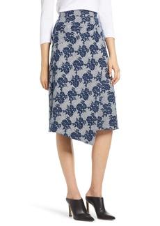 Halogen® Floral Plaid Asymmetrical Skirt (Regular & Petite)