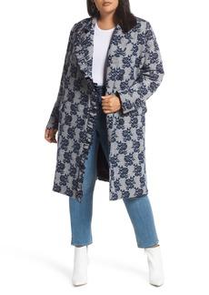 Halogen® Floral Plaid Coat (Plus Size)