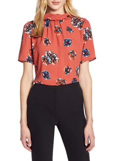Halogen® Floral Print Pleated Neck Top