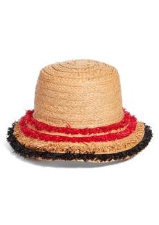 Halogen® Fringe Raffia Packable Bucket Hat