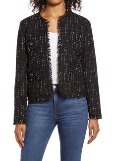 Halogen® Fringe Tweed Jacket