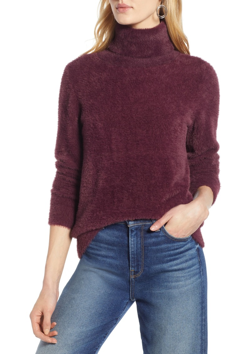 Halogen® Fuzzy Turtleneck Pullover (Regular & Petite)