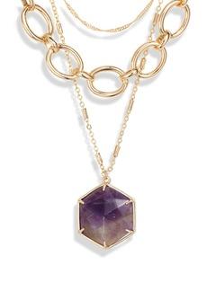 Halogen® Hexagon Stone Pendant Layered Collar Necklace