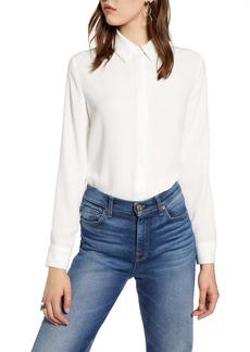 Halogen® Hidden Button Long Sleeve Blouse (Regular & Petite)